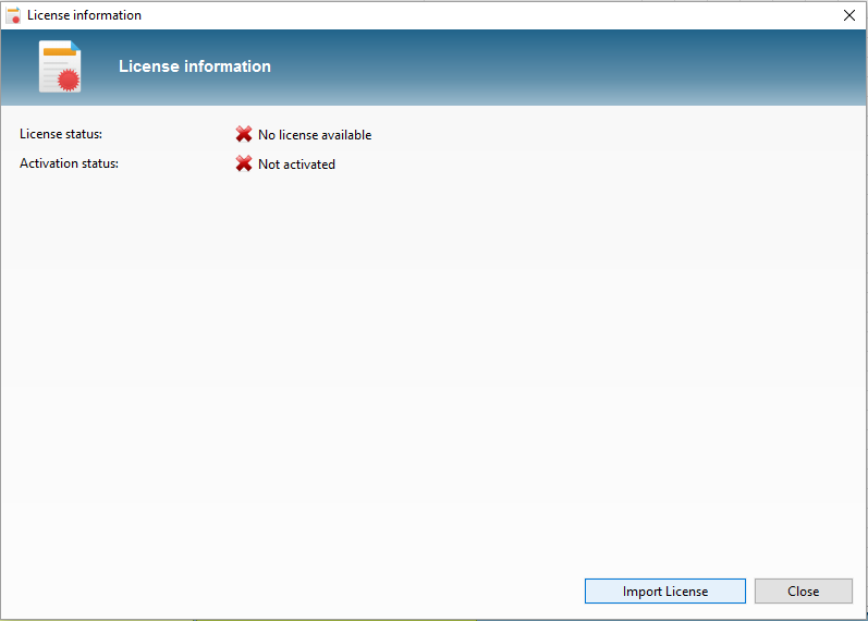 Dialog to import a license file